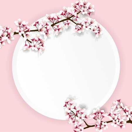 Cherry blossom branches, sakura flower branches, with empty paper for your text on sweet pink background. Vector illustration.