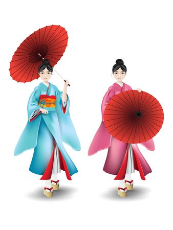 Cartoon character of young woman wearing the Japanese traditional dress, kimono, and holding an umbrella on white background. Vector illustration.