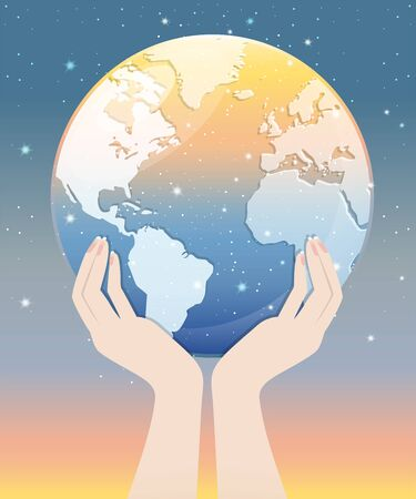 Two hands holding the transparent globe with stary sky look like meteor showers. A abstract astronomy background. Vector illustration. 일러스트