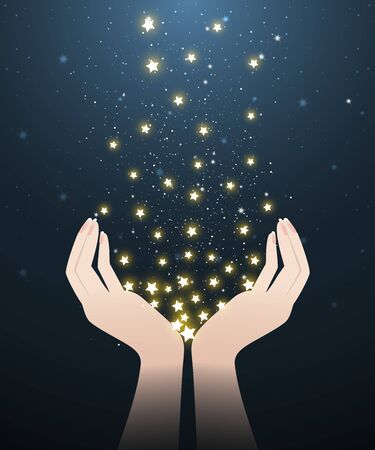 Two hands holding glowing stars in stary night look like meteor showers. A abstract astronomy background. Vector illustration.
