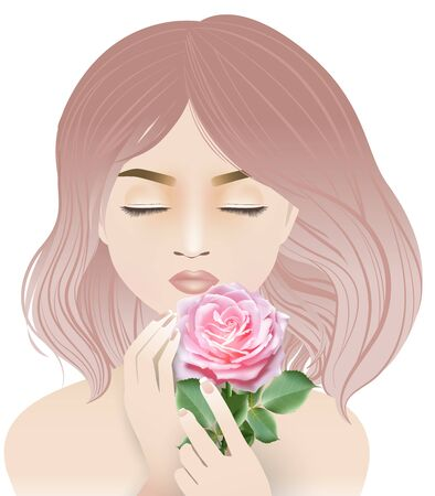 Cartoon character, Young pretty woman with pink hair closing her eyes and holding and sniffing a sweet pink rose. Vector illustration on white background. Ilustração
