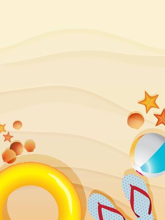 Top view of sand beach scene decorated with inflatable swimming ring, beachball, starfishes, seashell and sandals. Vector illustration background for summertime. Stock Illustratie