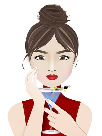 Young woman cartoon character, pretty girl with bun hair and red lips holding a cocktail glass on white background. Vector illustration. Stock Illustratie