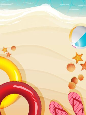 Top view of summer beach scene background decorated with inflatable swimming ring, beachball, starfishes, seashell and sandals. Vector illustration for summertime. Stock Illustratie
