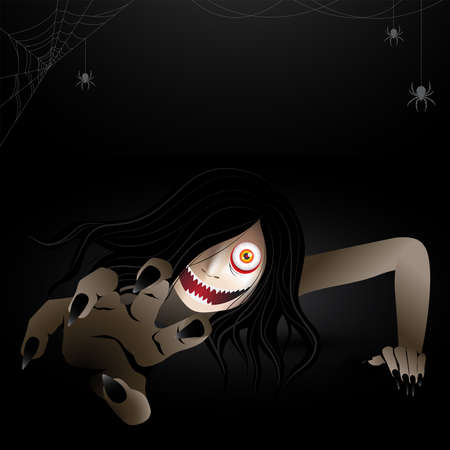 Woman scary ghost zombie, ghost creeping character haunting in the dark with spiders and spiderwebs. Vector illustration for halloween.