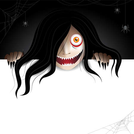 Woman scary ghost zombie, ghost character behind a paper frame for text and haunting in the dark with spiders and spiderwebs. Vector illustration for halloween.