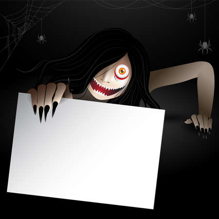 Woman scary ghost zombie, ghost creeping character holding a paper frame for text and haunting in the dark with spiders and spiderwebs. Vector illustration for halloween.