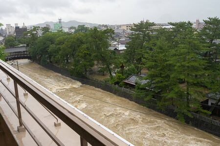 Shikoku region of typhoon heavy rain 版權商用圖片