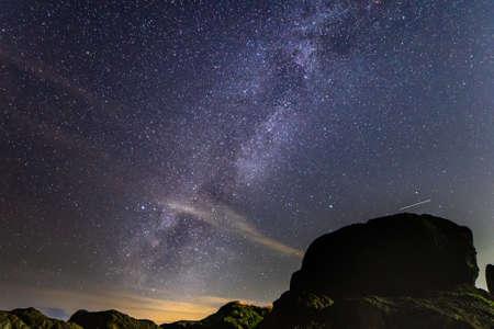 The starry sky and the Milky Way at Chiba Nojimazaki Lighthouse
