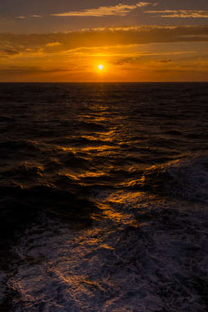 Beautiful sunset from the ship Ogasawara at the  Pacific Ocean