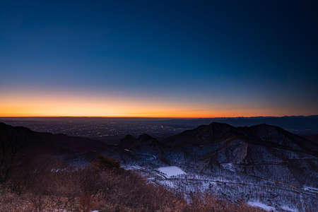 The summit of Mt. Haruna before the first sunrise 写真素材