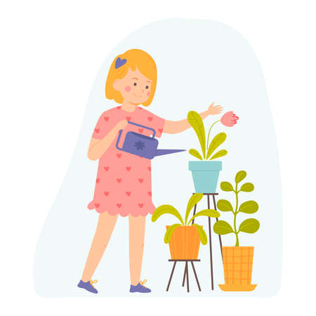 Little girl is watering indoor plants. Vector illustration for banners, posters, postcard. Cartoon style character.