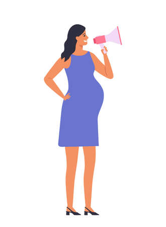 Pregnant brunette woman talking into megaphone. loudspeaker in her hands. Female character isolated on white background.Vector illustration in flat style