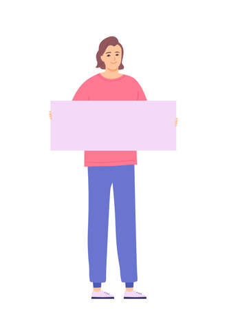 Young brunette man holding a poster in her hand. Girl at the rally. Character isolated on white background. Flat cartoon vector illustration