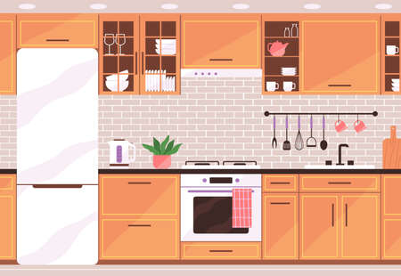 Cozy kitchen with furniture. Modern interior. Vector illustration in flat style