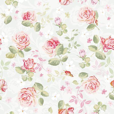 Patrón floral transparente de elegancia abstracta. Textura de ilustración de flores hermosas con rosas. Ilustración de vector