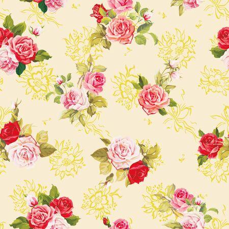 Eleganz-Textur mit Rosen. Stilvolles schönes nahtloses Blumenmuster. Vektorgrafik