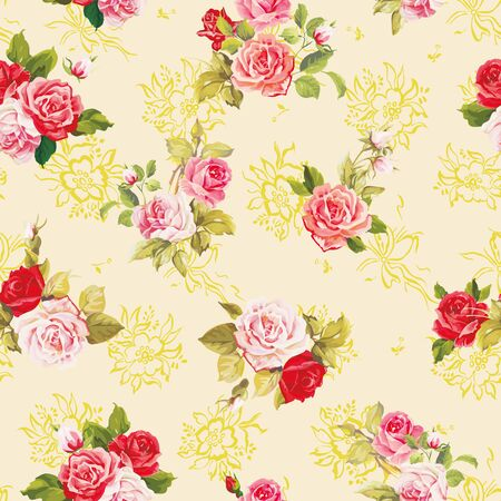 Textura de elegancia con rosas. Patrón transparente floral hermoso elegante. Ilustración de vector