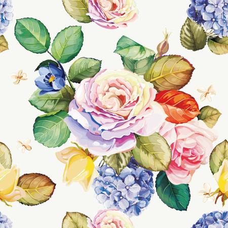 Pattern with beautiful rose flowers