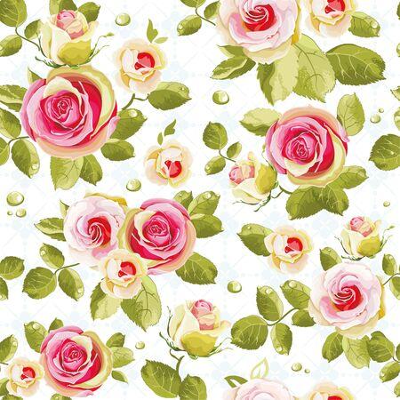Seamless floral pattern with roses Ilustração Vetorial