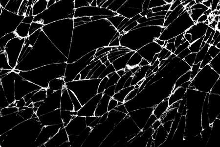 Black and white images. Clear glass that cracks on a black background. Stockfoto