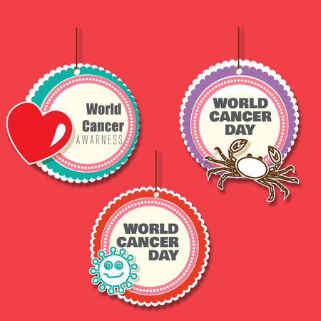 cancer research: Set of 3 cancer awareness danglers with cutouts
