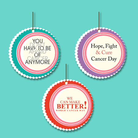 cancer research: Set of 3 cancer awareness danglers with text message