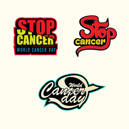 Cancer Awareness stickers with creative typography Vettoriali