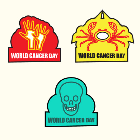 cancer research: Cancer Awareness stickers with shapes and message