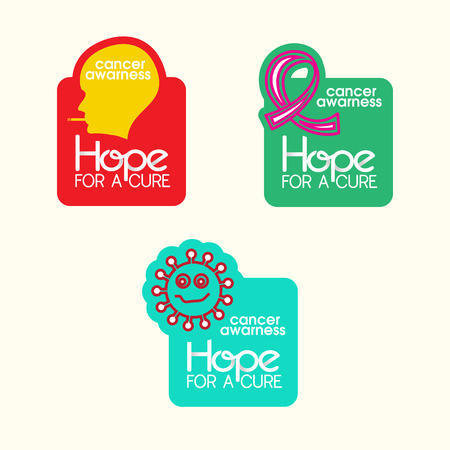 Cancer Awareness stickers with shapes and message
