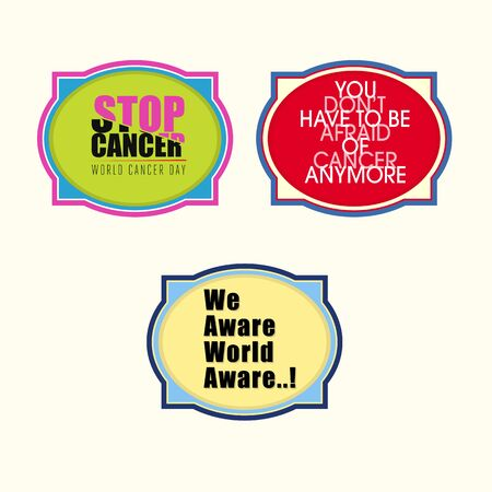cancer research: Set of 3 Cancer Awareness stickers with message