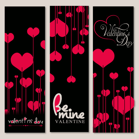 Set of 3 Valentine Day Background in Black and Red color