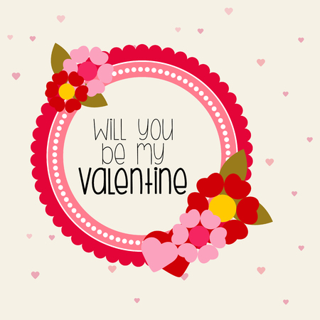 circular shape: Valentine message in circular shape with flowers Illustration
