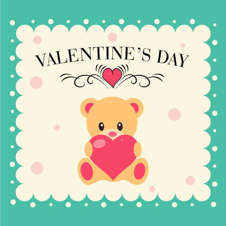 Valentine day card  with Teddy bear