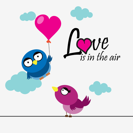2 birds with heart and love message