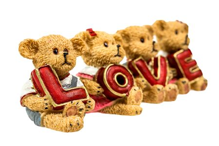 resin: teddy bear hold love on white background isolated