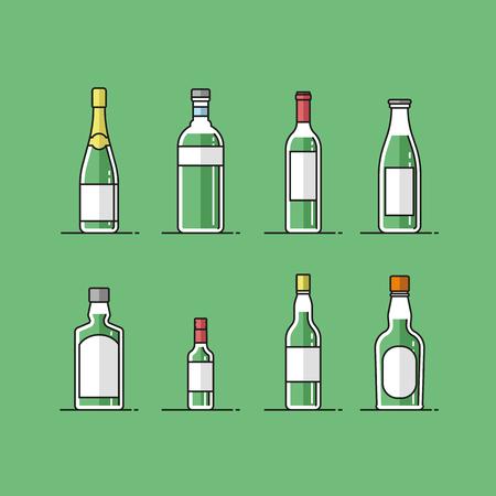 Flat design alcohol bottles collection illustration