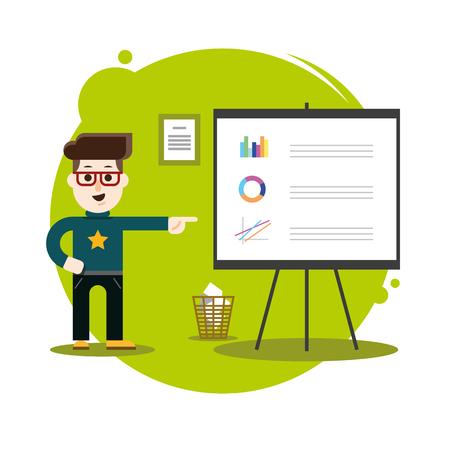 Business professional work team meeting. Man presentation. Vector creative illustrations flat design. Ilustração