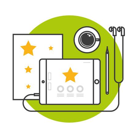 Bannière dans la conception de ligne plate pour le processus de l'art. Ensemble d'icône fine ligne plate dans le style. Tablette d'outils de concepteur. Icônes pour le processus de conception UI UI de l'application mobile Banque d'images - 74043383
