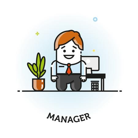 Homme de vecteur dans le costume d'affaires icône bureau gestionnaire vector plate création de logo icône isolée Banque d'images - 74783827