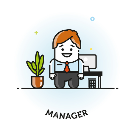 Vector Man in Business Suit Icon Office manager flat vector icon logo design isolated