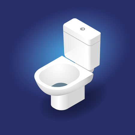 Toilet bowl realistic 3d Isometric Vector Illustration