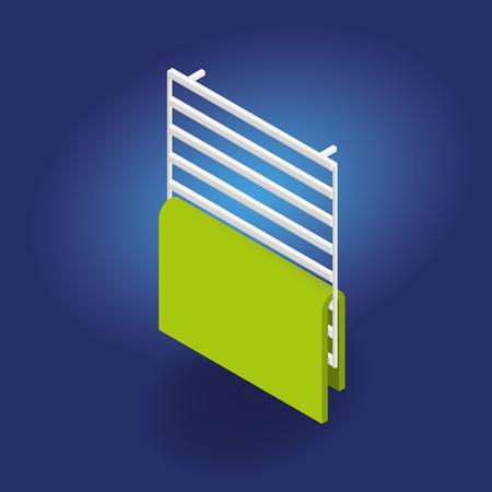 3d Heated towel rail realistic Isometric Vector Illustration