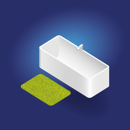 Baignoire à vecteur isométrique 3D avec tapis Banque d'images - 75914212