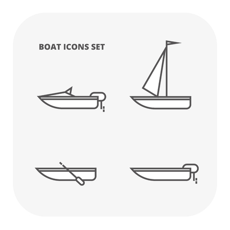 Boat icons set. Flat illustration of 4 ocean water transport vector icons for web Иллюстрация