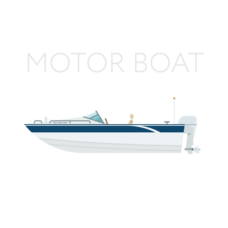 Motor boat vector icon flat detailed illustration