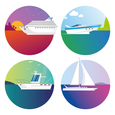 Vector color boats and ships icons on white background tropical travel and fishing EPS 10 Illustration