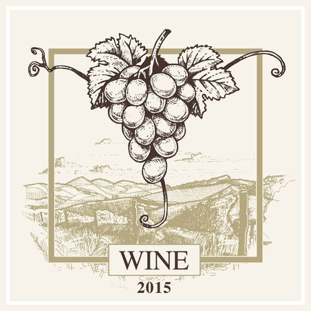 Wine label vector grape and landscape logo for winery