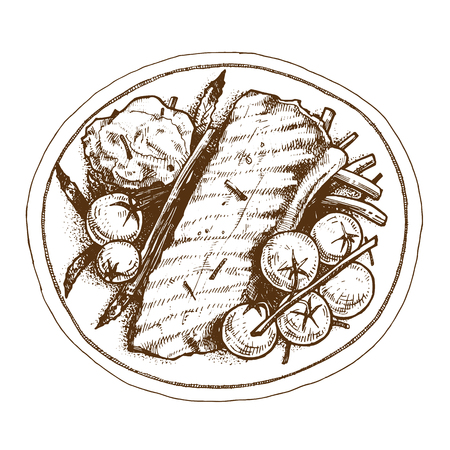 Steak plate vector illustration hand drawing EPS 10 on a platter with tomatoes and herbs