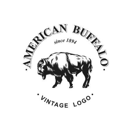 アメリカのバッファローのロゴ インク付きベクトル
